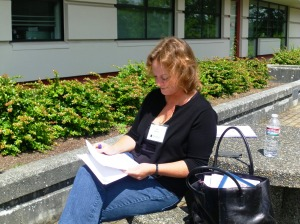 Hardworking agent Elizabeth Kracht takes a break from hearing pitches - to read manuscripts!