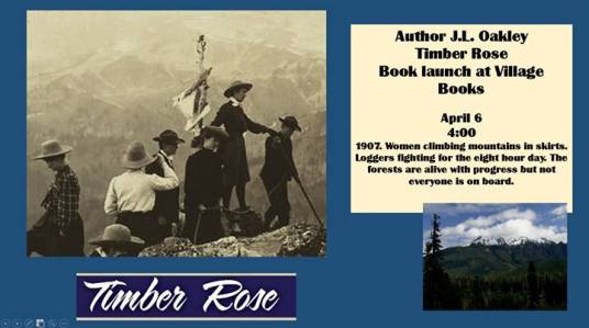 Timber Rose by Janet Oakley launches April 6 at Village Books