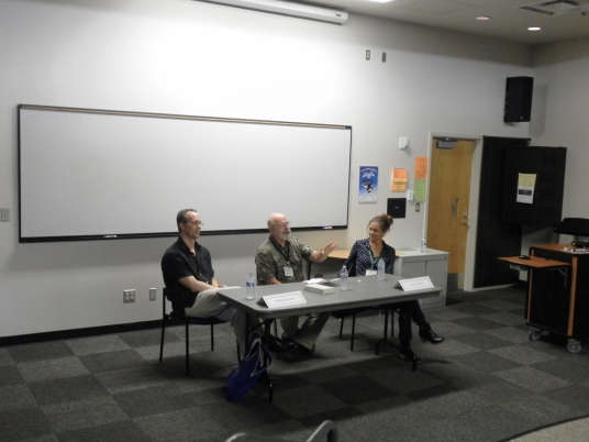 One of the fantastic ones I dropped in on was a panel with William Kenower (author of Write Within Yourself) and Claire Dederer (author of the bestselling memoir Posers). In the middle is a familiar face--Chuck Robinson of Village Books was the host of this very lively discussion about writing the most difficult thing. I came away truly inspired!